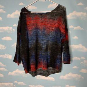 Palace- Red/Blue/Black Sheer Long Sleeve Top
